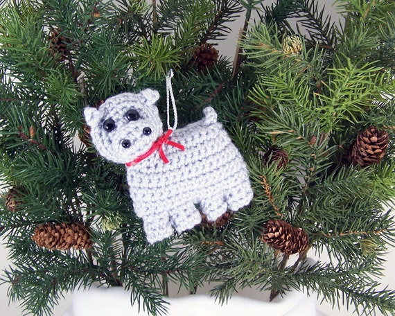 Amigurumi Crochet Christmas Ornaments : Christmas Ornaments animal crochet amigurumi hippo by ...