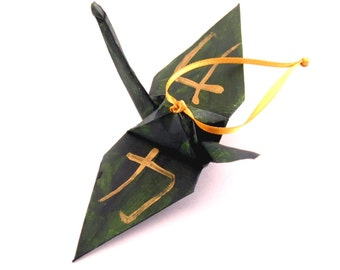 Strength Kanji Gold on Pine Green Origami Crane Ornament Home Decor