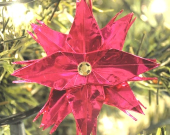 Magenta Pink Origami Crane Star Christmas Tree Ornament with Crystal Rhinestone Center Holiday Decoration