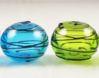 Aqua and Lime Hollow Spiral Wrap Lampwork Glass Beads