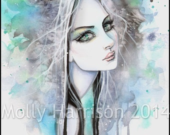 Abstract Ghost Goth Girl Portrait in Watercolor Fantasy Art Print by Molly Harrison