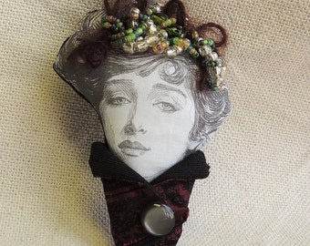 Doll head brooch -  fabric