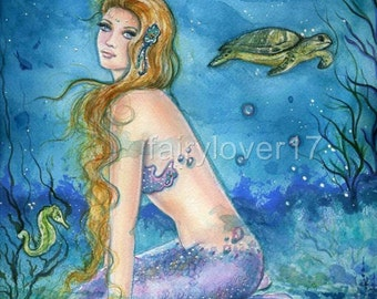 Aquamarine tides mermaid aceo fantasy art print By Renee L.Lavoie