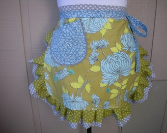 Womens Aprons - Monogramed Apron - Amy Butler Aprons - Chrysanthemum and Moon Dots Apron - Handmade Womens ApronsApron - Annies Attic Aprons