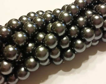 Glass Pearl Beads - 42 pc - Gun Metal Gray- 8mm - Round - Dyed