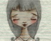 Print of my digitally enhanced sketch - Sketchbook Girl 9.29.14