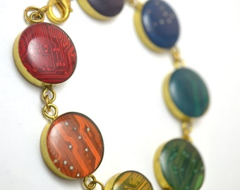 Circuit Board Link Bracelet in Brass Rainbow MADE TO ORDER