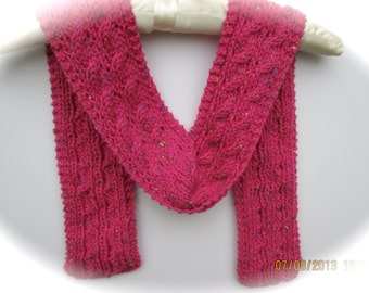 Hand knit hot pink cable scarf for children, small adult scarf, narrow scarf, gift idea