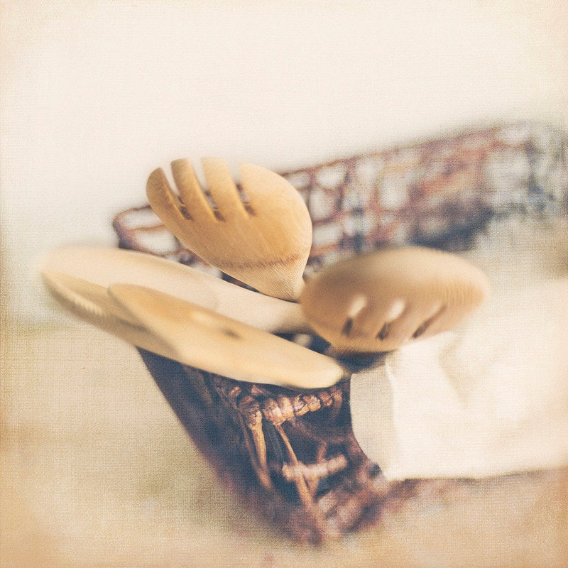 Wooden Spoons Basket 8x8 Photo Modern Wall Decor, Kitchen Decor, Office Decor, Home Decor, Photography Trina Baker Photography