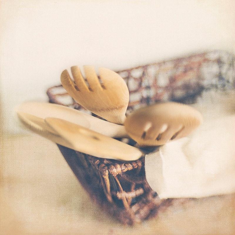 Wooden Spoons Basket 8x8 Photo Modern Wall Decor, Kitchen Decor, Office Decor, Home Decor, Photography Trina Baker Photography