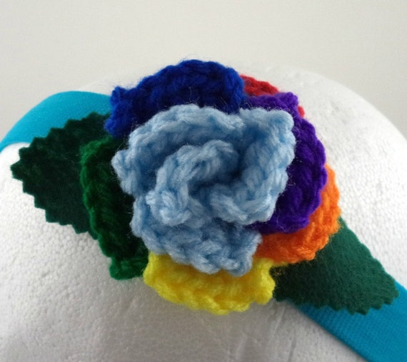 Crocheted rose headband light blue and rainbow rose on aqua for How much are rainbow roses