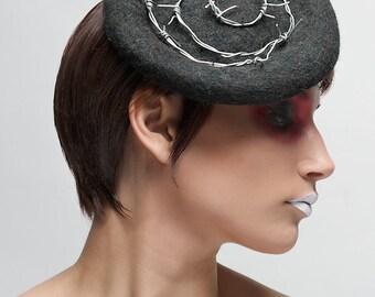 Grey fur felt hat - Gray Felt shield hat - Barbed Wire Punk Rock Hat