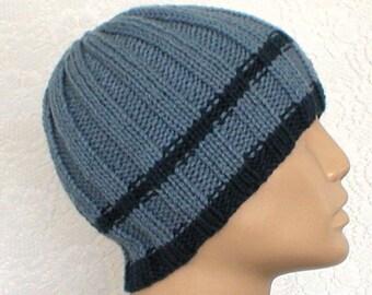 Ribbed beanie hat, skull cap, steel marine blue, striped hat, blue hat, beanie hat, ski snowboard, skateboard, toque, mens womens, chemo cap