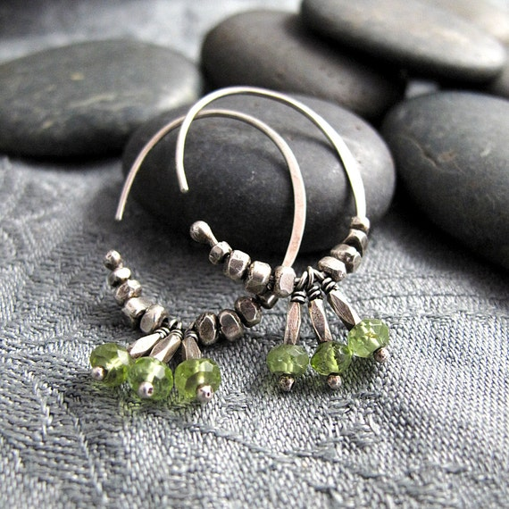 Hammered Silver Hoop Earrings with Bright Peridot