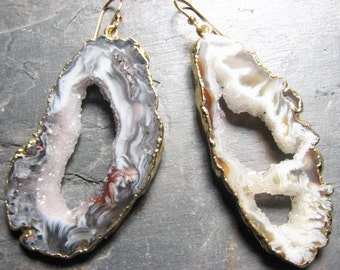 Large- Geode Slice Earrings, 14k gold dipped