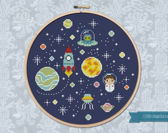 Oh, SpaceBoy! - Cross stitch PDF pattern