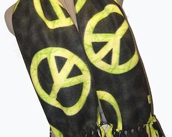 Green Neon Peace Fleece Scarf, Muffler, Bufanda UNISEX, Retro 60's Symbolism