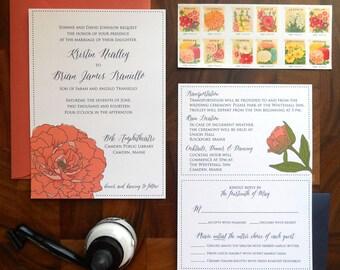 Camden coral peony illustration wedding invitation suite - Deposit