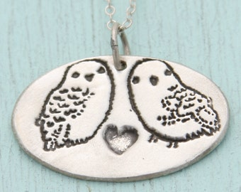 SNOWY OWLS necklace, eco-friendly silver pendant, artwork by BOYGIRLPARTY.  Handcrafted by Chocolate and Steel