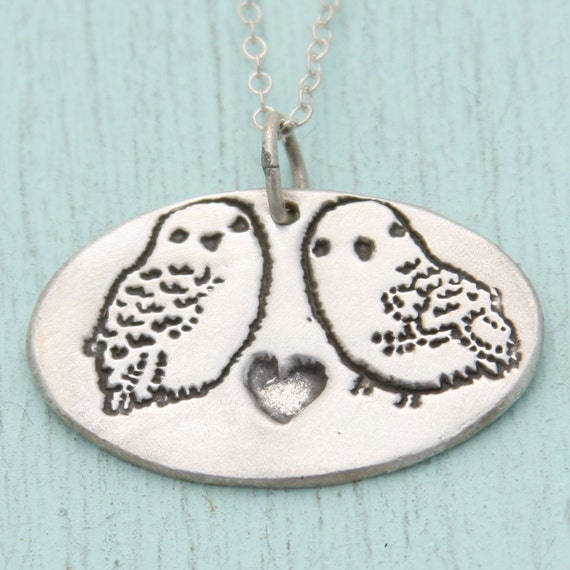 SNOWY OWLS necklace, eco-friendly silver or nickel free white bronze pendant, artwork by BOYGIRLPARTY.  Handcrafted by Chocolate and Steel