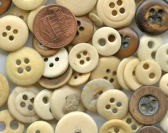 Bone Buttons  Variety Lot of (24) Vintage Genuine  MORE AVAILABLE 9381