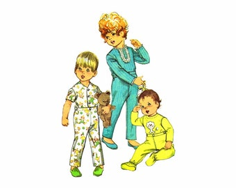 1960s Toddler Pajamas with Feet Simplicity 8076 Vintage Sewing Pattern Size 2