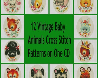 12 Vintage Baby Animal Cross Stitch Patterns PDF Sent Free Shipping
