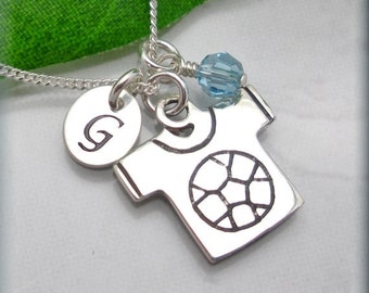 Soccer Jersey Sports Necklace Personalized Initial Birthstone Charm Jewelry (SN822)