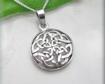 Round Celtic Knot Necklace Sterling Silver Irish Jewelry (SN814)