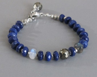 Lapis Lazuli Rainbow Moonstone Labradorite Bracelet Pyrite Sterling Silver Bead DJStrang Boho Cottage Chic Midnight Blue