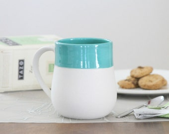 Turquoise Mug - Naked Unglazed Ceramic Mug with Turquoise Interior