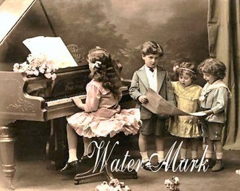 Digital DOWNLOAD INSTANT.Little girl plays piano.Children sing...Make place cards, collage,sewing and so much more