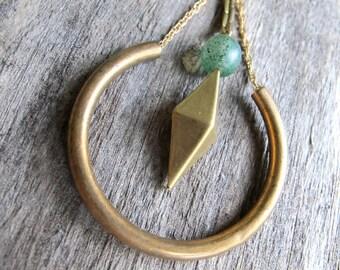 Brass Hoop Earrings. Geometric Charm Hoops. Green Glass Bead Rustic Natural Aged Boho Jewelry