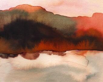 Fire Hill Watercolor art print - archival fine art