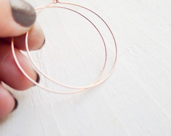 Rose Gold Hoop Earring Wispy Rose Gold Filled Hammered Hoops Large Rose Gold Earrings Thin Minimal Earring