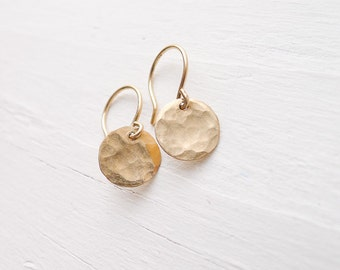 Gold Disc Earring - Basic Hammered Circle Earrings Tiny Earing Classic Jewelry Round Goldfilled Coin Dangle