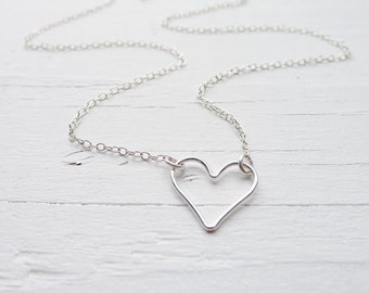 Open Heart Necklace - Floating Wire Heart Necklace Love Pendant Sideways Heart Charm Sterling Silver Mother Daughter
