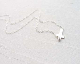 Sideways Cross Necklace Gift for Godmother Sterling Silver Trendy Sideways Crosses Handmade Jewelry Choker Length Available