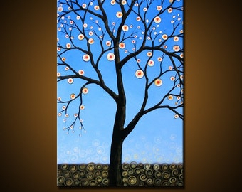 """Extra Large Wall Art Tree Painting ... Modern blue wall decor ... 36"""" x 60"""" ... Ways of the Night, Free US shipping"""