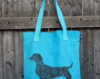 Dotty Doxie Dachshund Tote Bag, Original Art, Hand-dyed