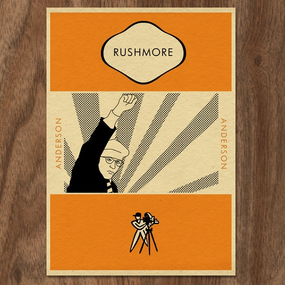 Vintage Penguin Book Cover Postcards : Rushmore penguin book cover inspired movie print