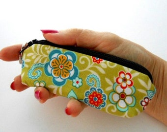 Green Serenata Mini Key Ring Zipper Pouch ECO Friendly Padded Lip Balm Case