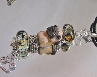 Pug European Vertical Bead Charm Polymer Clay Dog Pendant Necklace interchangeable to Dog Lead