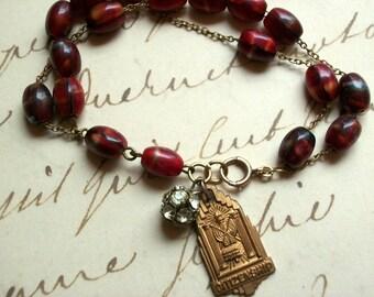 Red Glass Bead Bracelet Assemblage