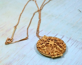 Gold Filigree Brass Locket Necklace