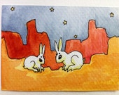 Jackalope desert IV mixed media ACEO