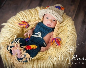 Thanksgiving costume baby girl scarecrow hat and overalls Fall, Harvest, Autumn photography prop