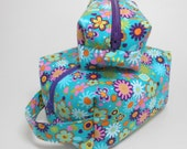 Dopp Kit Cosmetic Pouch, Box Zipper Pouch Teal and Purple Modern Floral, Small and Large Dopp Kit