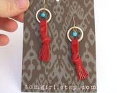 Turquoise Treasure Tassel Earrings in Red Leather