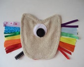 Rainbow ribbon tag toy, one eyed monster toy, rainbow ribbon toy, travel tag toy, pocket tag monster Alpha, baby shower gift, ribbon tag toy